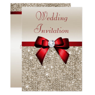 Faux Champagne Sequins Red Bow Wedding Card
