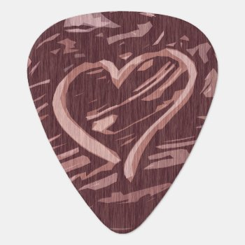 Faux Cherry Wood Stain Graphic Heart Guitar Pick by artbyjocelyn at Zazzle