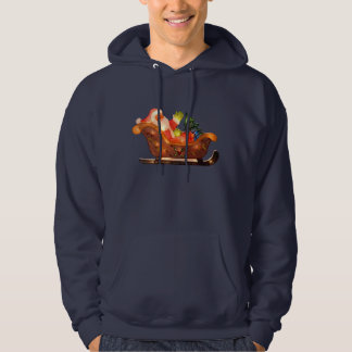 Faux Christmas Lights Santa in Sleigh Hoodie