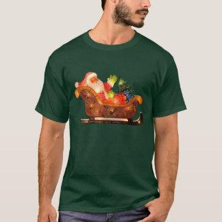 Faux Christmas Lights Santa in Sleigh T-Shirt