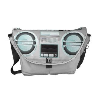 faux chrome ghetto blaster retro boombox messenger bag