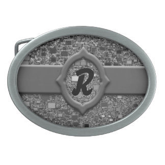 Faux Chrome Mini Box Background Oval Belt Buckle