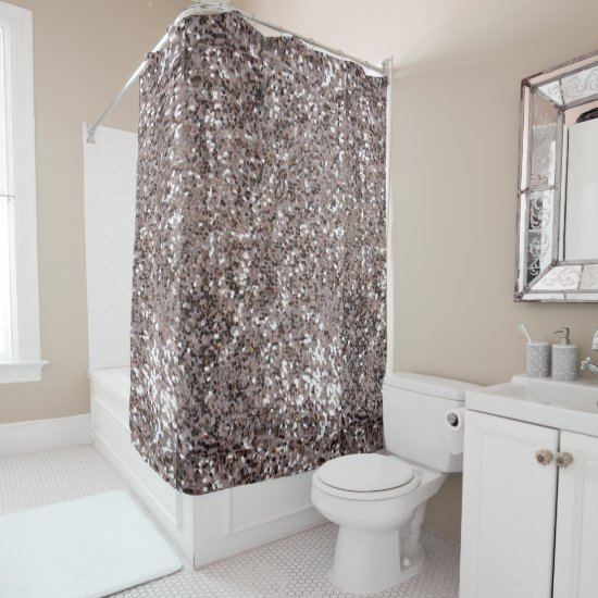 faux chunky silver and brown glitter pattern shower curtain