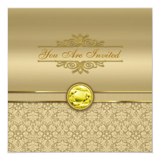 Faux Citrine Yellow Gemstone Metallic Gold Damask Card