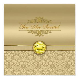 Faux Citrine Yellow Gemstone Metallic Gold Damask Card