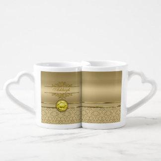 Faux Citrine Yellow Gemstone Metallic Gold Damask Couples' Coffee Mug Set