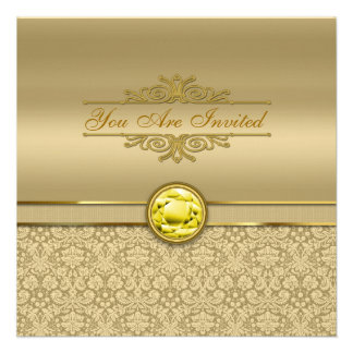 Faux Citrine Yellow Gemstone Metallic Gold Damask Custom Announcements