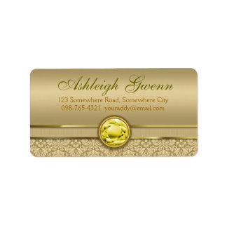 Faux Citrine Yellow Gemstone Metallic Gold Damask Label