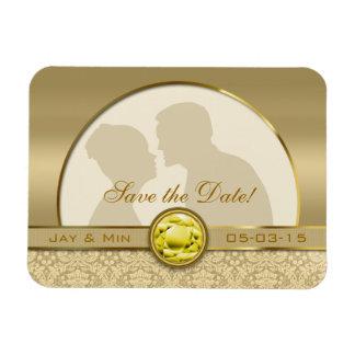Faux Citrine Yellow Gemstone Metallic Gold Damask Magnet