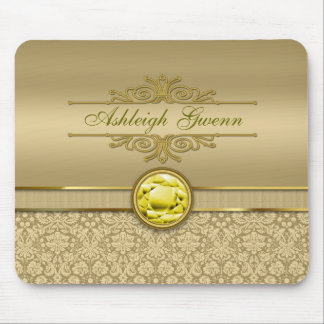 Faux Citrine Yellow Gemstone Metallic Gold Damask Mouse Pad