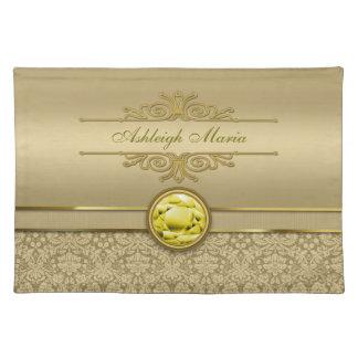 Faux Citrine Yellow Gemstone Metallic Gold Damask Placemat