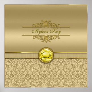 Faux Citrine Yellow Gemstone Metallic Gold Damask Print