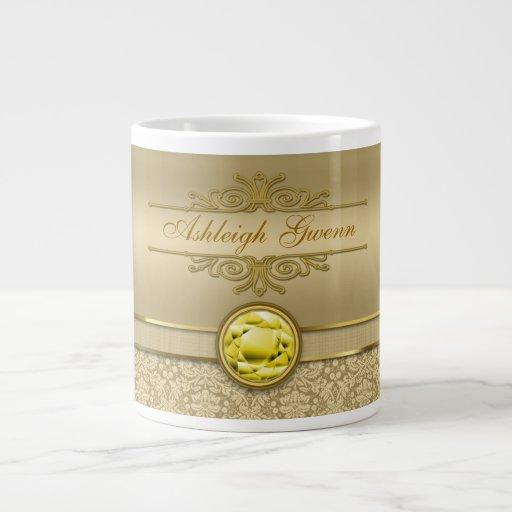 Faux Citrine Yellow Gemstone Metallic Gold Damask Extra Large Mugs