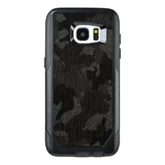 Faux Cloth Black Military Camo Camouflage Pattern OtterBox Samsung Galaxy S7 Edge Case