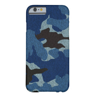 Faux Cloth Blue Camo Military Slim iPhone 6 Cases Barely There iPhone 6 Case
