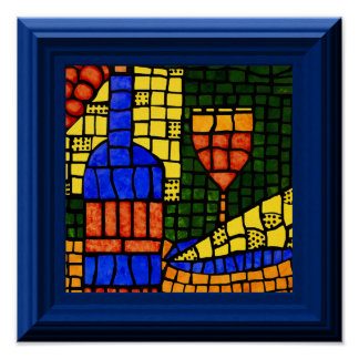 Faux Colorful Wine Mosaic Poster