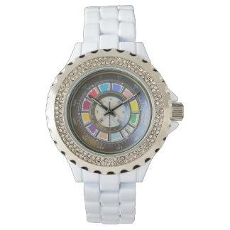 Faux compas on color wheel wristwatch