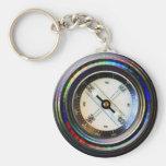 Faux Compass Basic Round Button Keychain