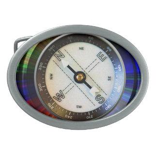 Faux Compass Oval Belt Buckle