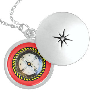Faux Compass Sterling Locket
