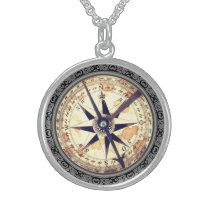 Faux compass sterling silver necklace