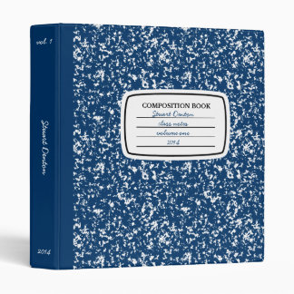 Faux Composition Book 3-ring Binder, Navy Blue Binder