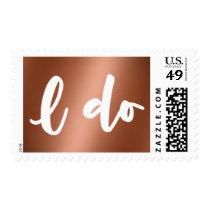 Faux Copper Foil Bold Script I Do over Copper Postage