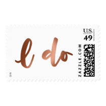 Faux Copper Foil Bold Script over White, I Do Postage