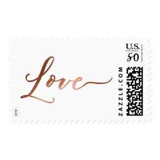 Faux Copper Foil Love Hand-Lettered Font Postage