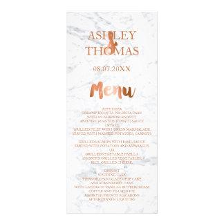 Faux copper foil typography marble wedding menu