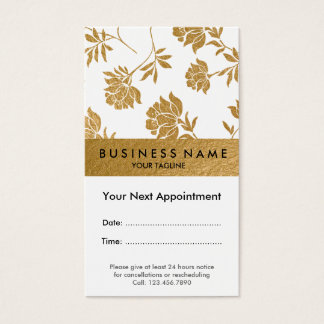 Faux Copper Gold Foil Florals Business Card
