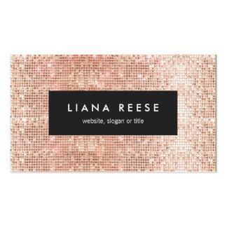 FAUX Copper Gold Sequin Beauty Salon Business Card
