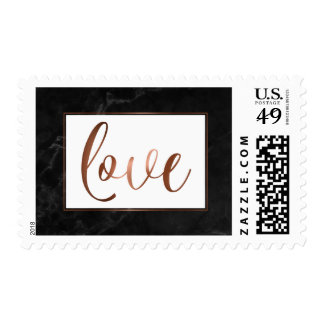 Faux Copper Script & Black Marble Love Typography Postage