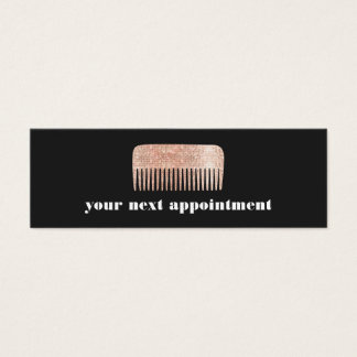 Faux Copper Sequin Comb Hair Salon Appointment Mini Business Card