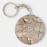 Faux Cracked Wood Basic Round Button Keychain