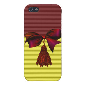Faux Cranberry & Yellow Bow & Tassle Iphone Case