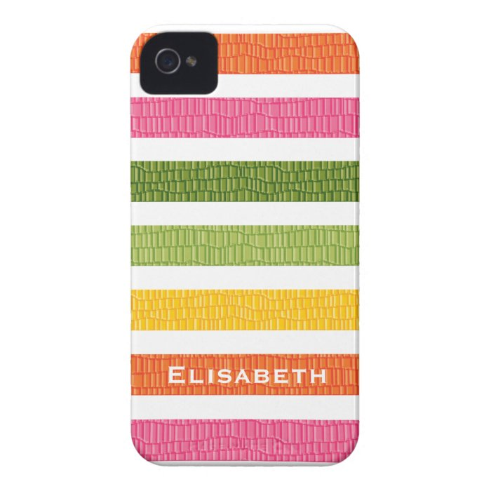Faux Croc Multi Stripe iPhone 4 Case-Mate Cover