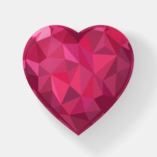 Faux Crystal Gem Ruby Red Heart Shaped Paperweight