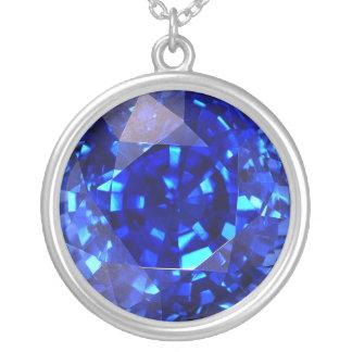 Faux Cut Gemstone Blue Sapphire Fashion Pendant