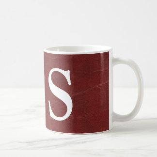 Faux Dark Red Leather Background Coffee Mug
