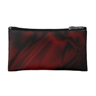 Faux Dark Red Satin Makeup Bag