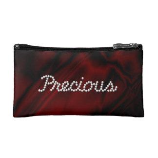 Faux Dark Red Satin Precious Makeup Bag