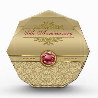 Faux Dark Ruby Red Gemstone Metallic Gold Damask Acrylic Award