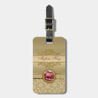 Faux Dark Ruby Red Gemstone Metallic Gold Damask Bag Tag