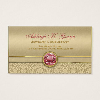 Faux Dark Ruby Red Gemstone Metallic Gold Damask Business Card