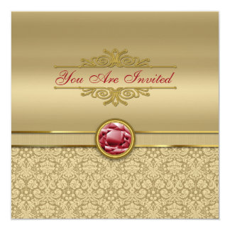 Faux Dark Ruby Red Gemstone Metallic Gold Damask Card