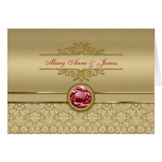 Faux Dark Ruby Red Gemstone Metallic Gold Damask Card