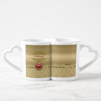 Faux Dark Ruby Red Gemstone Metallic Gold Damask Couples' Coffee Mug Set