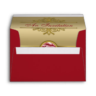 Faux Dark Ruby Red Gemstone Metallic Gold Damask Envelopes