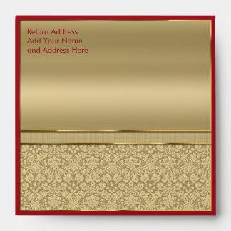 Faux Dark Ruby Red Gemstone Metallic Gold Damask Envelope